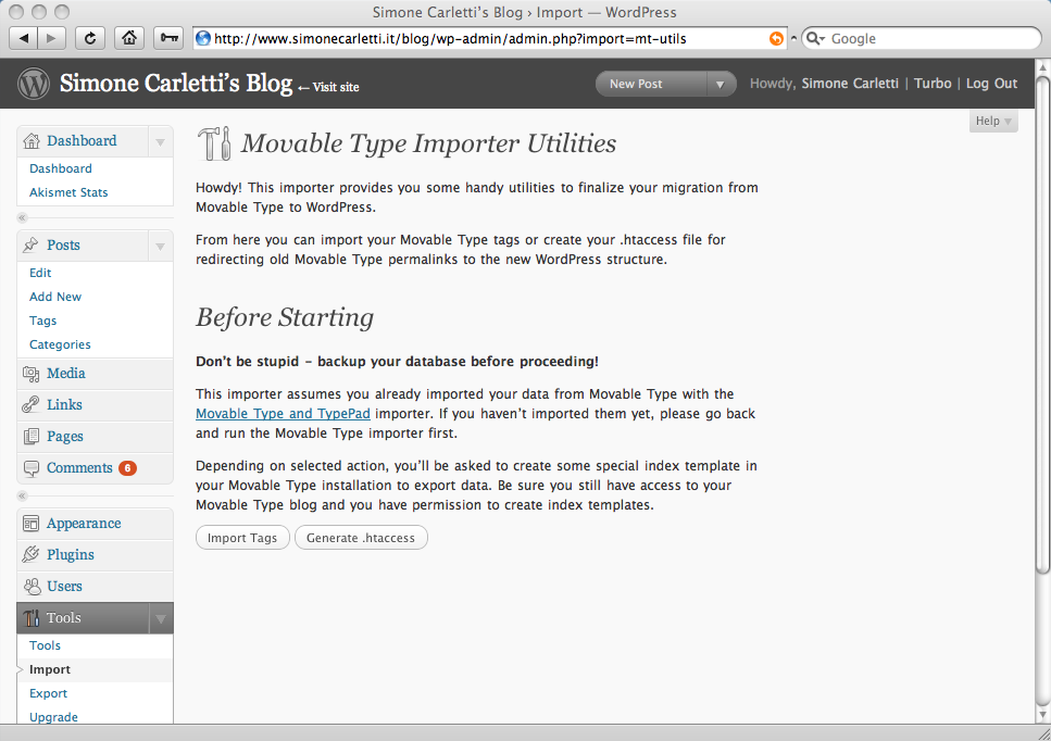 Movable Type Importer