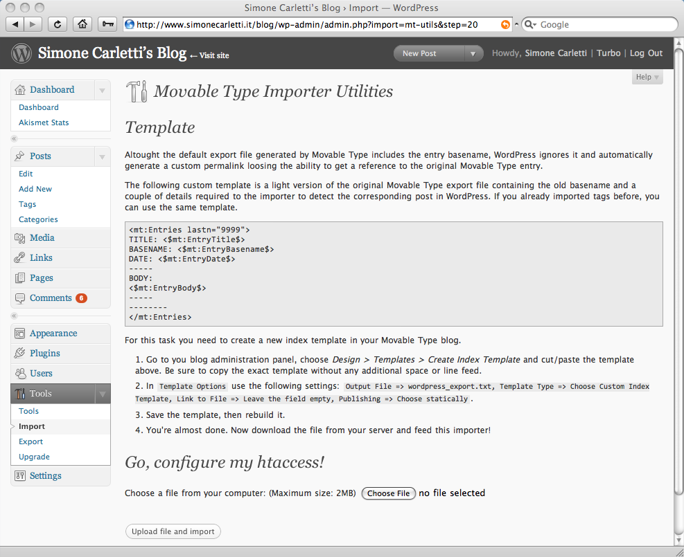 Movable Type Importer: .htaccess generator