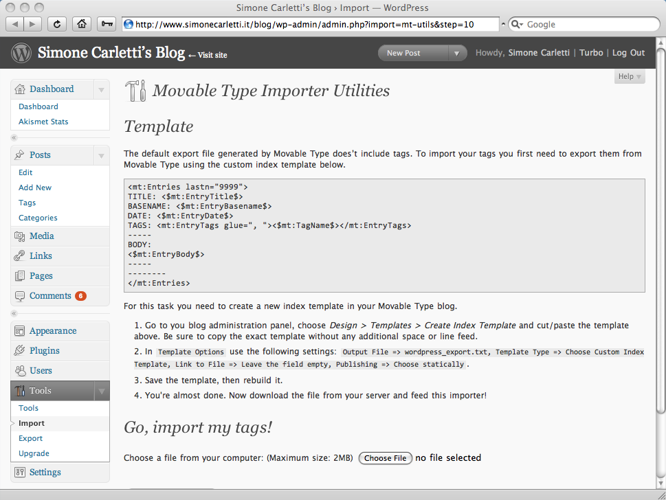 Movable Type Importer: Tags importer