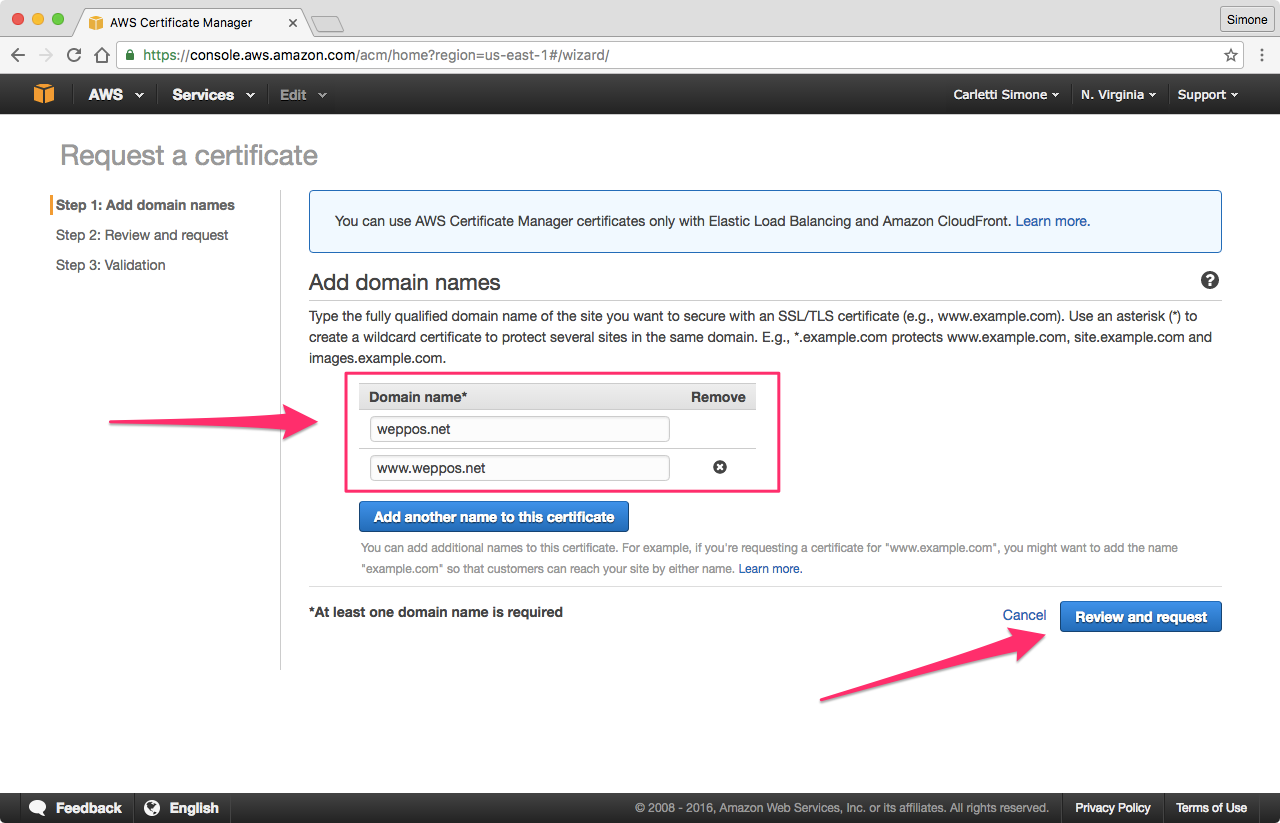 Redirecting a domain with https using amazon s3 and cloudfront just note that if want to redirect example to example its sufficient to have only the first host in the certificate xflitez Choice Image